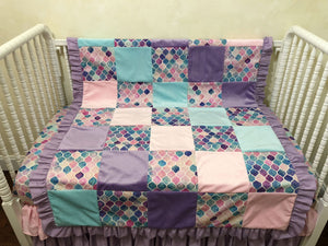 Baby Girl Mermaid Patchwork Baby Blanket in Pink, Aqua, and Lavender