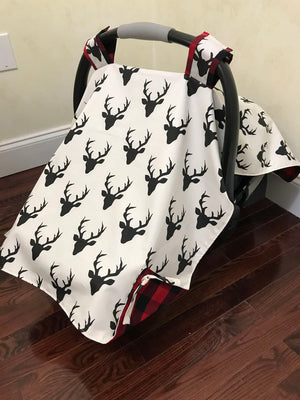 Car Seat Cover - Black Buck with Red Plaid