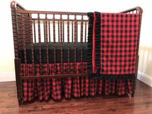 Baby Girl Red Plaid Crib Bedding - Girl Woodland Nursery Baby Bedding