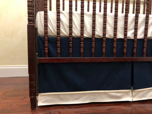 Baby Boy Crib Bedding Set Davis - Ivory, Navy Blue, and Tan Baby Bedding, Crib Rail Cover