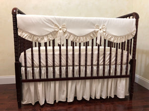 Ivory Girl Crib Bedding Set - Girl Baby Bedding, Crib Rail Cover