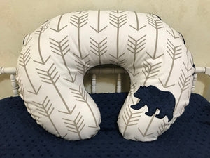 Khaki Arrows with Navy Bear Nursing Pillow Cover
