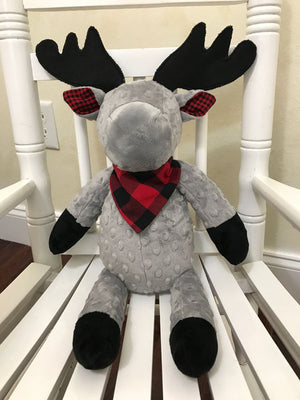 Snuggle Pal Moose- Gray with Red and Black Plaid