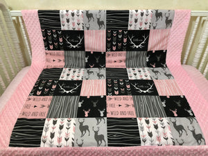 Baby Girl Woodland Deer Blanket in Pink, Black, and Gray