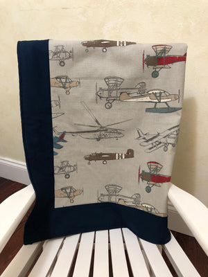 Airplane Crib Bedding Set Malachi - Boy Baby Bedding, Navy Blue and Gray Airplane Baby Bedding, Crib Bumpers