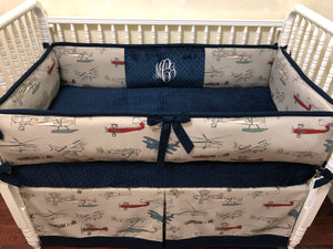 Airplane Crib Bedding Set Malachi - Boy Baby Bedding, Navy and Gray Airplane Baby Bedding, Crib Bumpers
