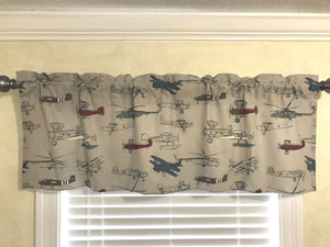 Window Valance - Vintage Airplanes