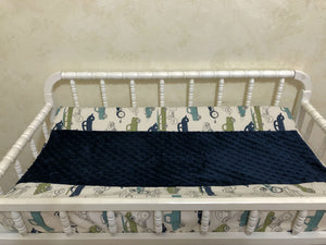 Changing Pad Cover - Vintage Cars and Trucks with Navy Minky Dot