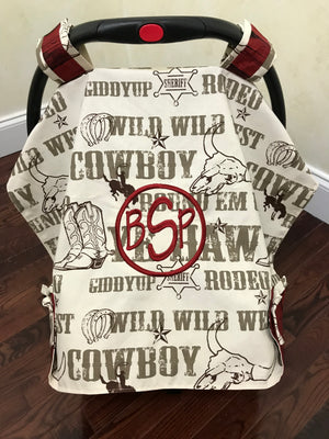 Car Seat Cover - Cowboy Rodeo with Red Barn Plank