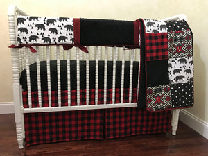 Woodland Bear Crib Bedding Set Maxson - Boy Baby Bedding, Bear Baby Bedding, Red and Black Plaid Crib Bedding