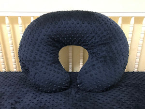 Navy Minky Dot Nursing Pillow Cover