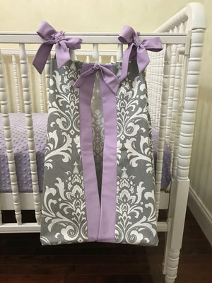 Diaper Stacker - Gray Damask and Lavender