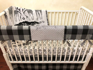 Black and White Safari Baby Bedding Set - Safari Crib Bedding, Modern Boy Crib Bedding