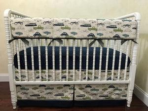 Cars and Trucks Baby Bedding Set Nicholas- Boy Crib Bedding, Crib Rail Cover Set