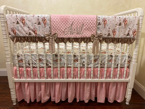 Baby Girl Boho Floral Horse Crib Bedding- Girl Horse Baby Bedding in Light Pink and Taupe
