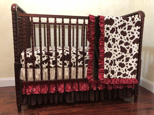 Cowgirl Crib Bedding Set Annie - Girl Baby Bedding, Cowgirl Baby Bedding, Red Bandana with Brown and Tan Crib Bedding