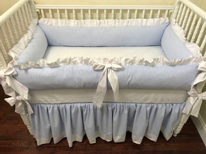 Light Blue Seersucker Crib Bedding Set - Baby Boy Bedding, Crib Bumpers