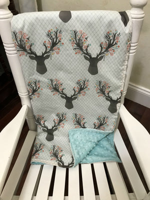 Car Seat Blanket - Floral Stag with Aqua or Coral