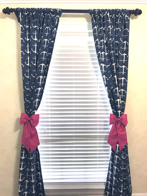 Navy Anchor Curtain Panels