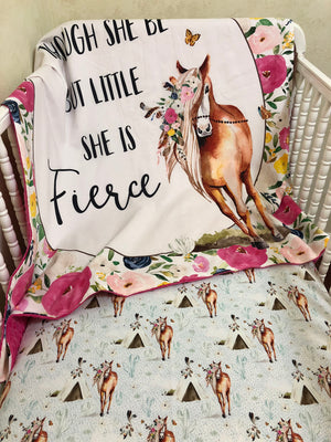 Baby Girl Horse Crib Bedding - Girl Baby Bedding, Floral Horse Baby Bedding
