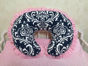 Navy Damask and Light Pink Nursing Pillow Cover with Ruffle