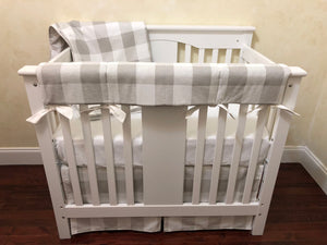 French Gray Buffalo Plaid Mini Crib Bedding Set - Boy Mini Crib Bedding