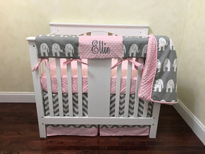 Gray and Pink Elephant Mini Crib Bedding Set - Girl Baby Bedding, Girl Mini Crib Bedding