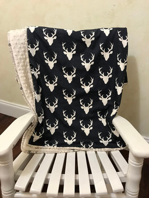 Navy Deer Crib Bedding Set - Boy Baby Bedding with Deer and Arrows in Navy, Ivory, Khaki, and Gray