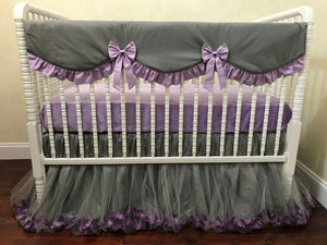 Gray and Lavender Girl Crib Bedding Set Giselle - Princess Crib Bedding, Ballerina Baby Bedding, Crib Rail Cover