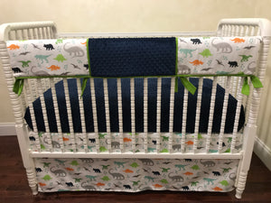 Dinosaur Crib Bedding Set - Boy Baby Bedding, Dinosaur Baby Bedding with Navy Blue and Lime Green