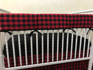 Red and Black Plaid Baby Bedding Set Pavel- Red Buffalo Plaid Crib Bedding Set,  Boy Baby Bedding, Crib Rail Cover