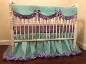 Aqua and Lavender Girl Crib Bedding Set Giselle - Princess Crib Bedding, Ballerina Baby Bedding, Crib Rail Cover