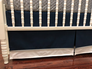 White, Navy Blue, and Gray Baby Boy Crib Bedding, Crib Rail Cover