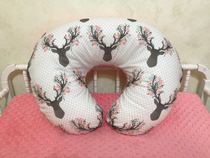 Floral Deer Nursing Pillow Cover