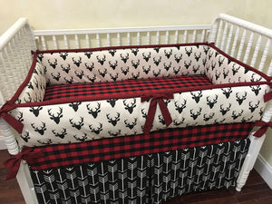 Woodland Boy Crib Bedding Set Brayden - Boy Baby Bedding, Crib Bumpers, Black Deer with Red Plaid