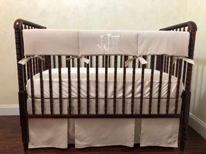 Natural Linen Baby Crib Bedding Set - Gender Neutral Crib Bedding, Boy Crib Bedding, Crib Rail Cover Set