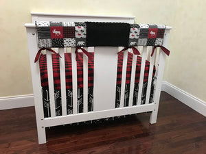 Moose and Bears Mini Crib Bedding Set - Boy Baby Bedding, Woodland Mini Crib Bedding in Red and Black