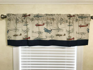 Window Valance - Vintage Airplanes with Navy