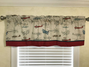 Window Valance - Vintage Airplanes with Crimson and Navy