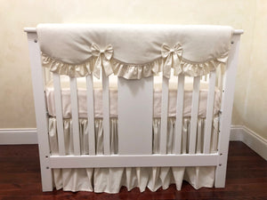 Ivory Baby Girl Mini Crib Bedding Set - Girl Mini Crib Baby Bedding, Ivory Mini Crib Bedding