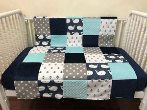 Nautical Nursery Patchwork Baby Blanket with Anchors and Whales in Navy and Aqua