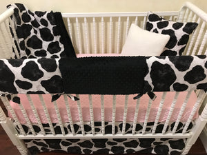 Cow Crib Bedding, Baby Girl Cow Crib Bedding, Black and White Cow Bedding with Pink