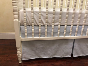 Light Blue Seersucker Crib Bedding, Baby Boy Crib Bedding, Crib Rail Cover