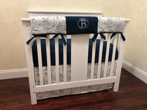 Airplane Mini Crib Bedding Set - Baby Boy Mini Crib Bedding in Navy Blue and White