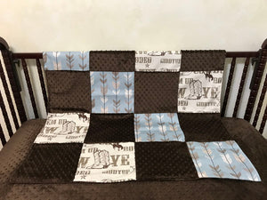 Cowboy Baby Bedding Set Bellamy - Western Crib Bedding, Boy Baby Bedding, Crib Rail Cover Set, Crib Bumpers