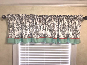 Window Valance - White and Gray Damask with Coral and Mint