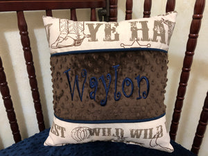 Western Cowboy Bedding - Boy Baby Bedding, Crib Bumpers, Cowboy Rodeo Bedding in Brown and Cream with Navy