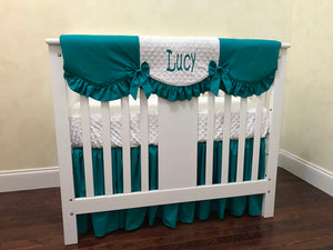 Teal and White Girl Mini Crib Bedding Set - Girl Mini Crib Baby Bedding,  Mini Crib Bedding