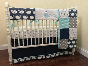 Nautical Boy Bedding Set Kei - Whales and Anchors in Navy and Aqua, Boy Crib Bedding, Crib Rail Cover Set