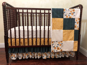 Sunflower Girl Crib Bedding, Girl Baby Bedding in Gold, Ivory, and Blue